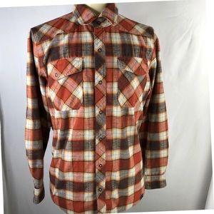 L L Bean Plaid Snap Button Flannel Shirt Mens M